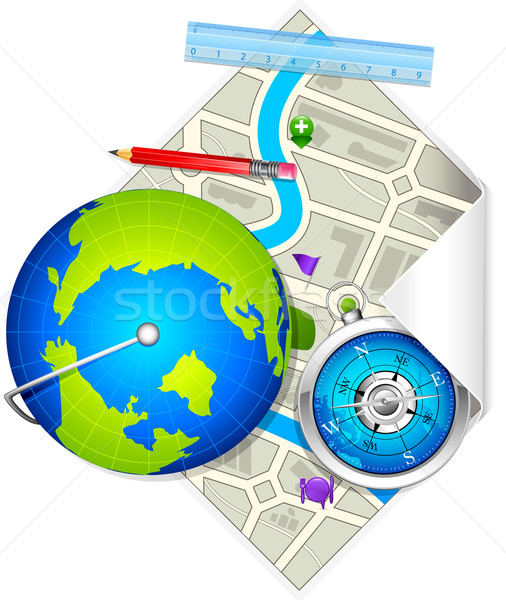 Globe and Compass on Map Stock photo © vectomart