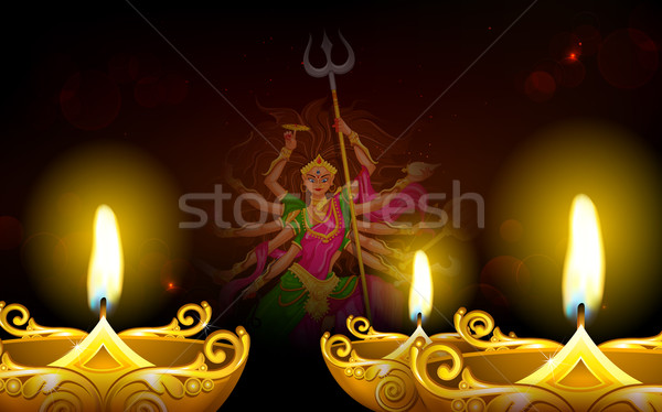 Happy Dussehra with goddess Durga Stock photo © vectomart