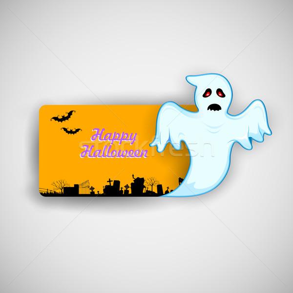 Flying Boo ghost wishing Happy Halloween Stock photo © vectomart