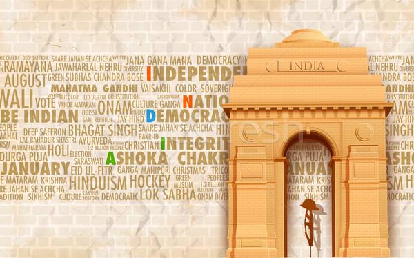 Hindistan kapı örnek soyut Bina mimari Stok fotoğraf © vectomart