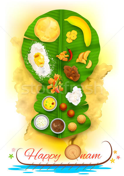 Stock photo: Onam feast on banana leaf
