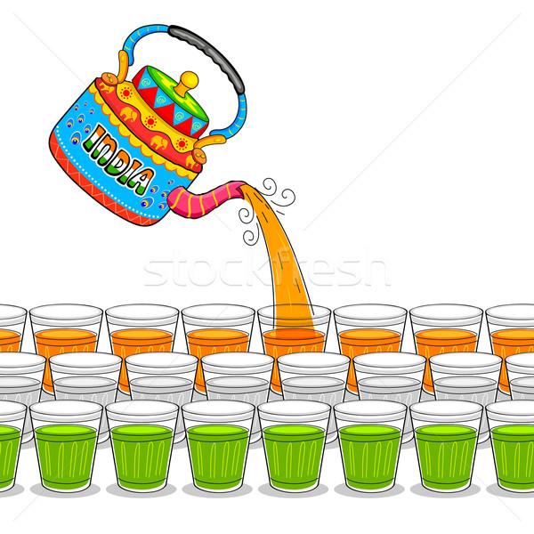 India giccs művészet bogrács üveg illusztráció Stock fotó © vectomart