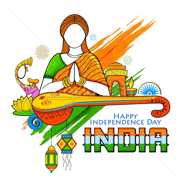 Indiai nő namaste kézmozdulat boldog nap Stock fotó © vectomart