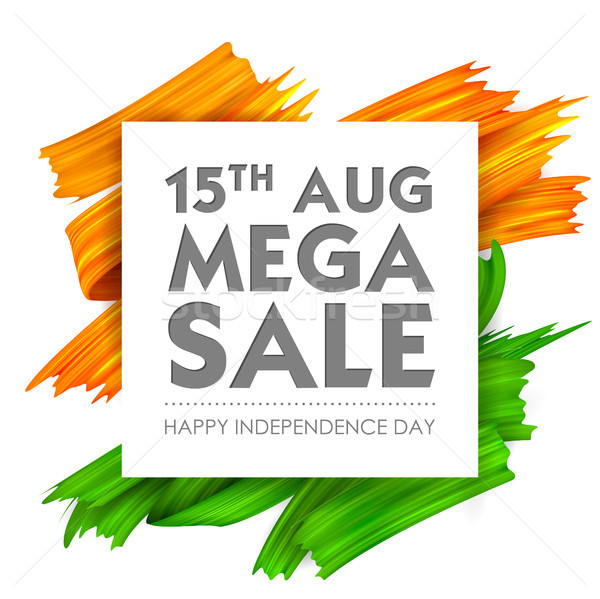 Acrylic brush stroke Tricolor banner with Indian flag for 15th August Happy Independence Day of Indi Stock photo © vectomart