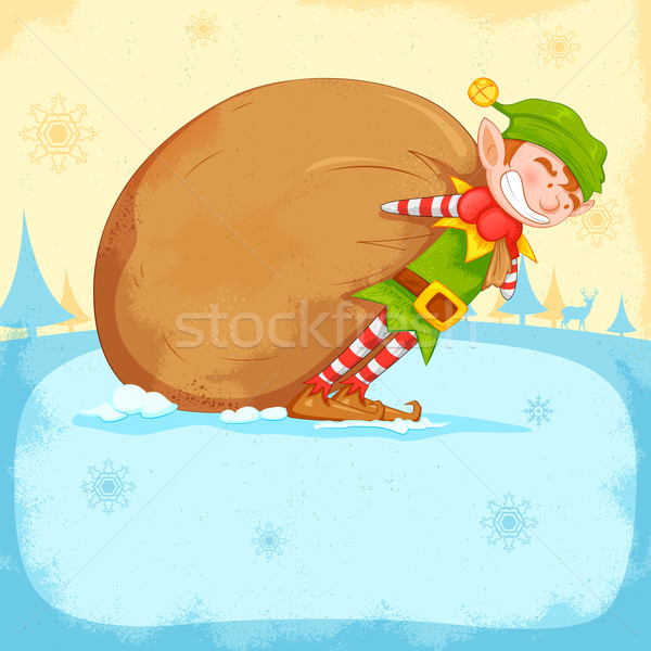 Elf dragging sack full of Christmas gifts Stock photo © vectomart