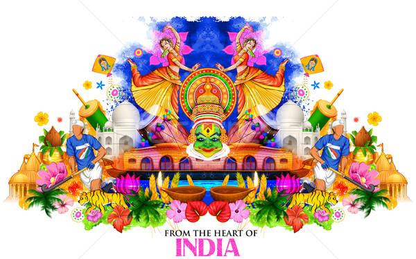 India mutat kultúra diverzitás illusztráció tánc Stock fotó © vectomart