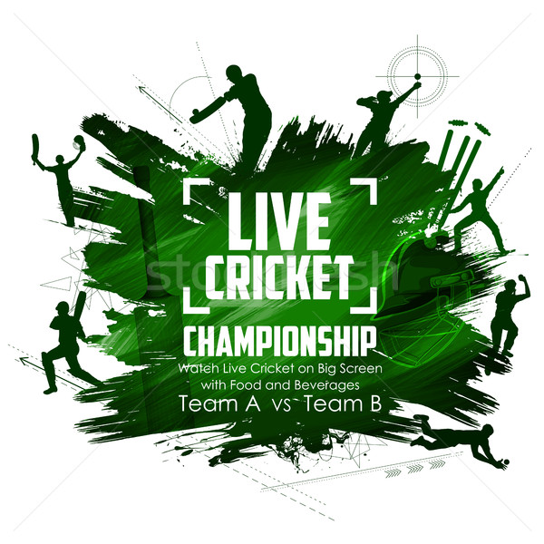 Batsman and bowler playing cricket championship sports Stock photo © vectomart