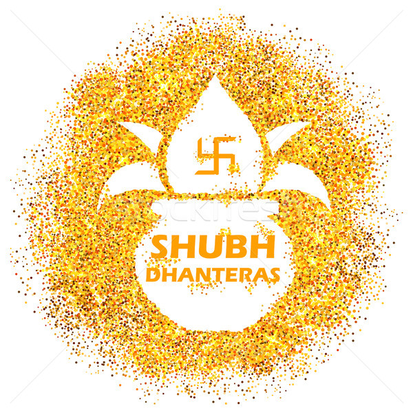 Gold pot for Dhanteras celebration on Happy Dussehra light festival of India background Stock photo © vectomart