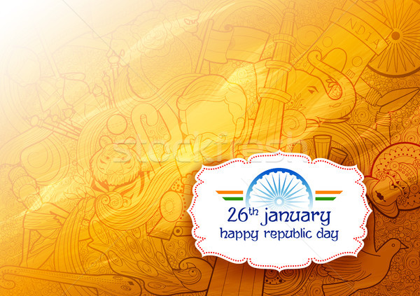 Banner with Indian flag for 26th January Happy Republic Day of India Stock photo © vectomart