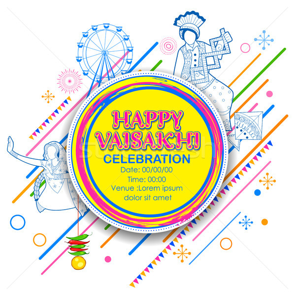 Szczęśliwy wiosną zbiorów festiwalu sikh uroczystości Zdjęcia stock © vectomart