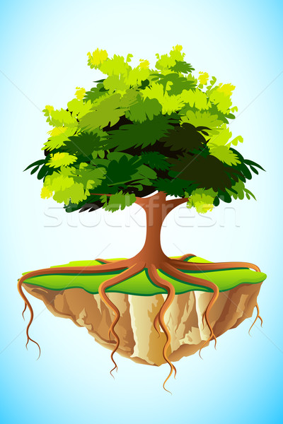 Boom aarde illustratie groeiend wereldbol wortels Stockfoto © vectomart