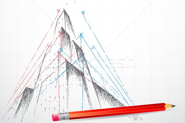 план здании иллюстрация карандашом дома город Сток-фото © vectomart