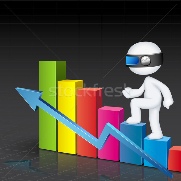 3d Man climbing Bar Graph Stock photo © vectomart