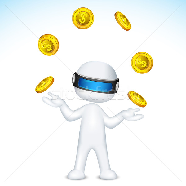 Vector 3d Man Juggling with gold coin Stock photo © vectomart