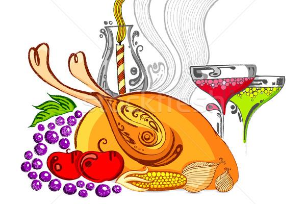 Hálaadás illusztráció lakoma Törökország gyümölcs terv Stock fotó © vectomart