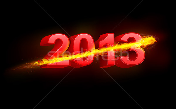 Tüzes boldog új évet illusztráció 2013 háttér füst Stock fotó © vectomart