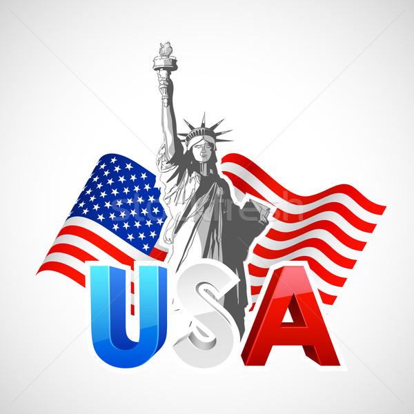 статуя свободы американский флаг иллюстрация Мир правосудия Сток-фото © vectomart