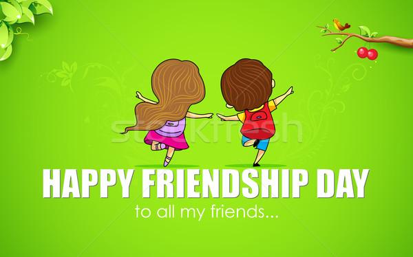 Gelukkig vriendschap dag illustratie vrienden genieten Stockfoto © vectomart