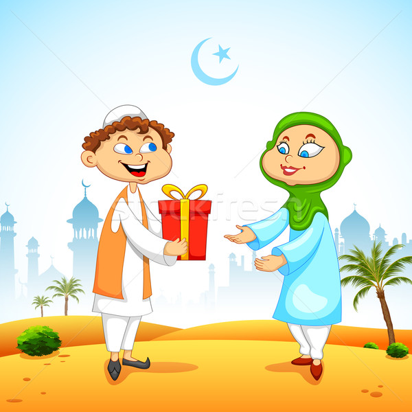 People presenting gift to celebrate Eid Stock photo © vectomart