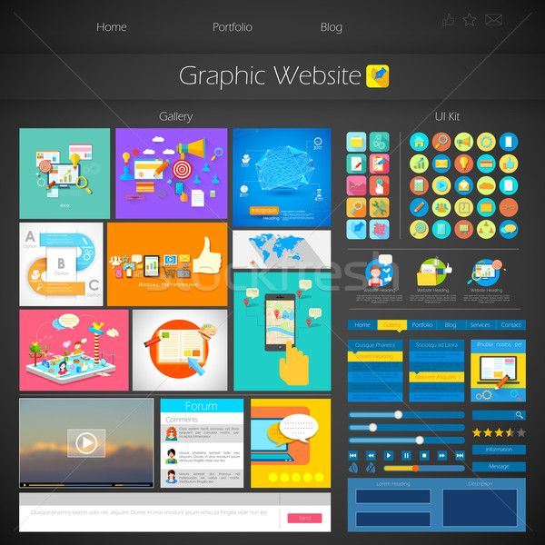 Utilisateur interface design illustration style affaires Photo stock © vectomart