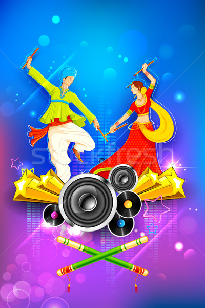 Dandiya Night Poster Stock photo © vectomart