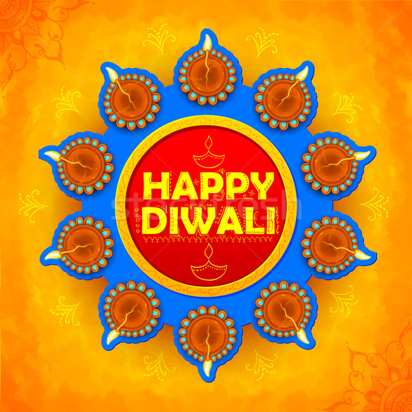 Happy Diwali background coloful watercolor diya Stock photo © vectomart
