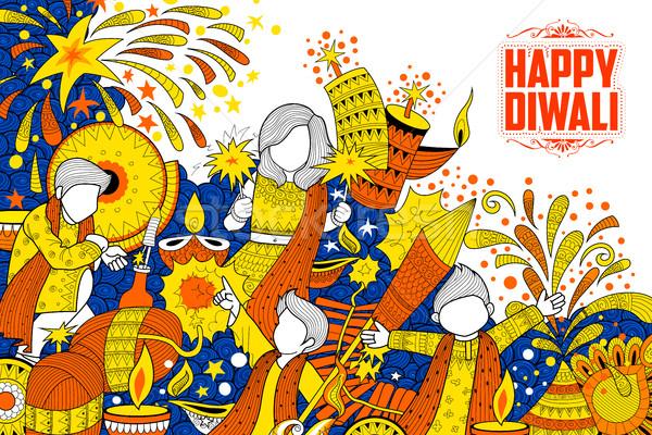Gyerek ünnepel boldog diwali ünnep firka Stock fotó © vectomart