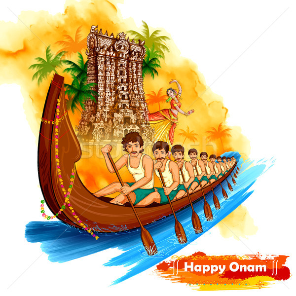 Meenakshi temple backdrop Snakeboat race in Onam celebration background for Happy Onam festival of S Stock photo © vectomart