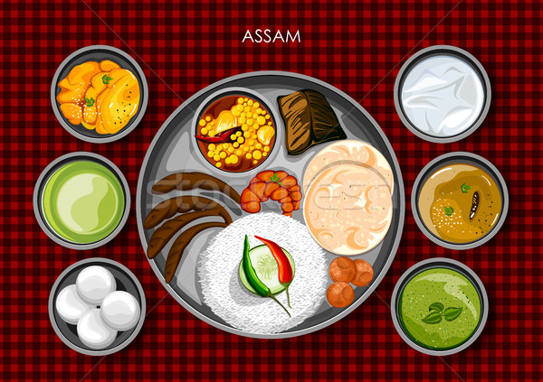 Traditional Assamese cuisine and food meal thali of Assam India Stock photo © vectomart