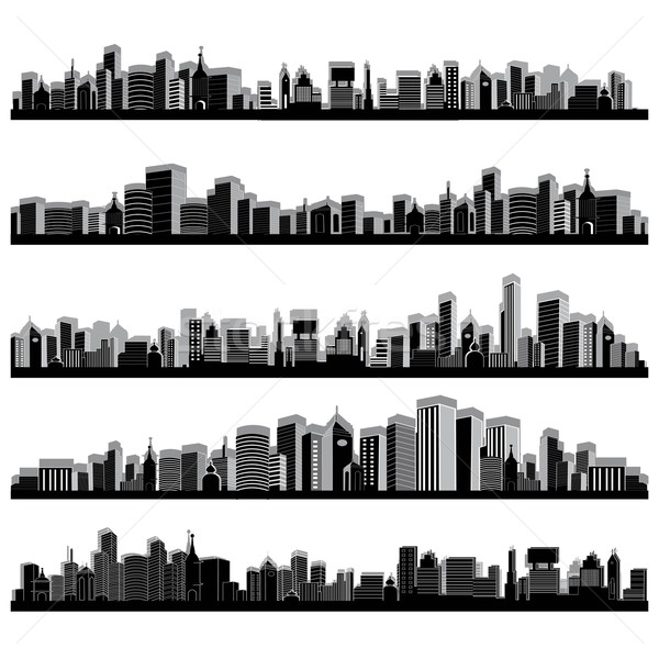 Cidade scape ilustração conjunto cityscape silhueta branco Foto stock © vectomart