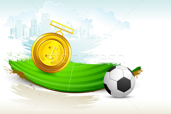 Gold Medal on Soccer Pitch Stock photo © vectomart