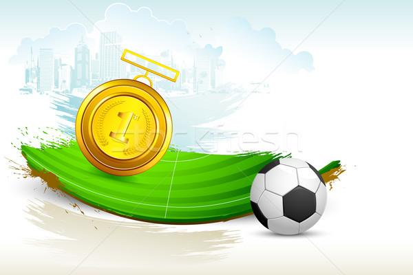 金メダル サッカー ピッチ 実例 グランジ スポーツ ストックフォト © vectomart