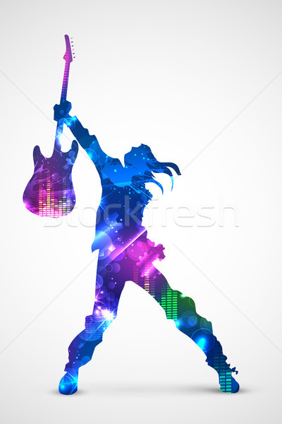 Rock star gitara ilustracja musical projektu muzyki Zdjęcia stock © vectomart
