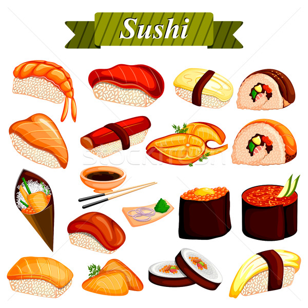 Full collection of different variety of Sushi roll from Japanese cuisine Stock photo © vectomart
