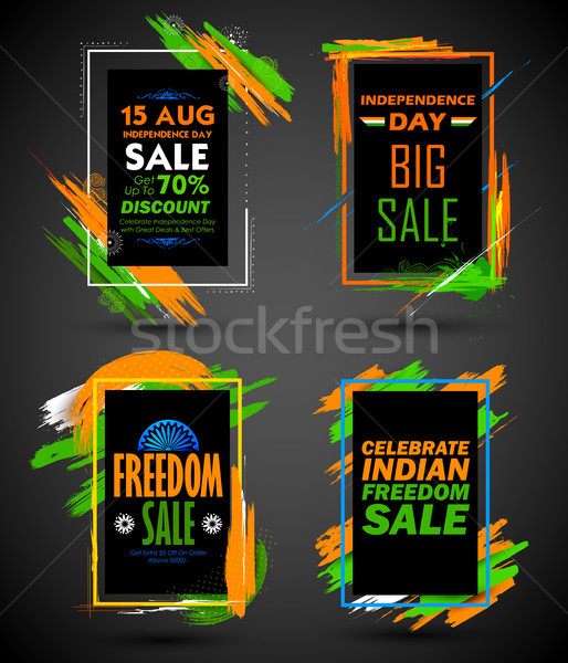 Independence Day of India sale banner with Indian flag tricolor frame Stock photo © vectomart