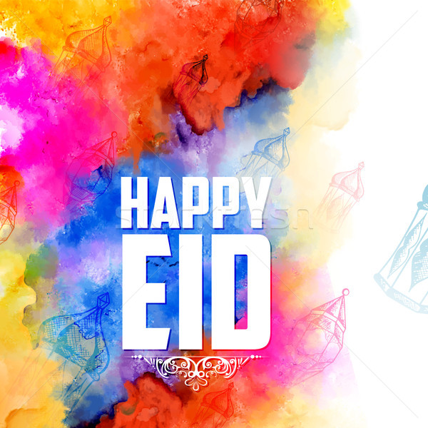 Eid Mubarak Happy Eid greetings background for Islam religious festival on holy month of Ramazan Stock photo © vectomart