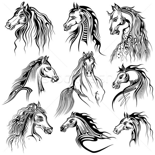 Tatuaż sztuki projektu konia kolekcja ilustracja Zdjęcia stock © vectomart