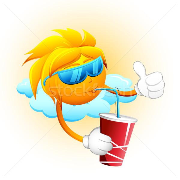Sol potável bebida fria ilustração sessão nuvem Foto stock © vectomart