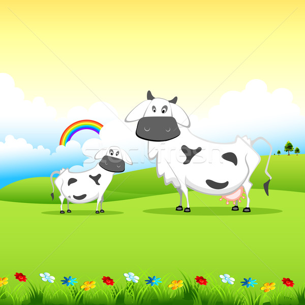 Cow grazing in field Stock photo © vectomart