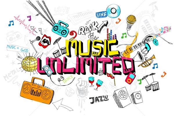 Muziek onbeperkt illustratie doodle kleurrijk element Stockfoto © vectomart