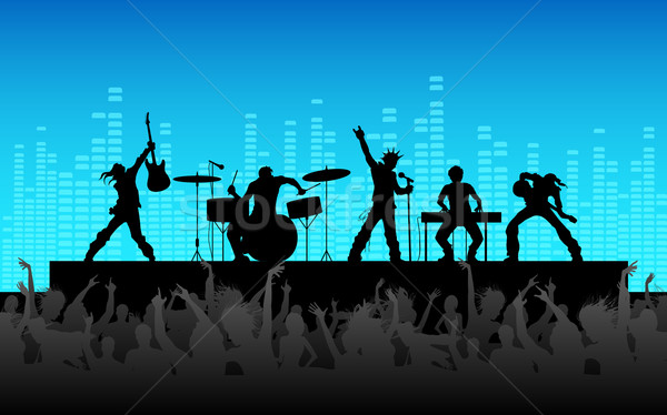 Rockband Leistung Illustration Menschen Jubel Party Stock foto © vectomart