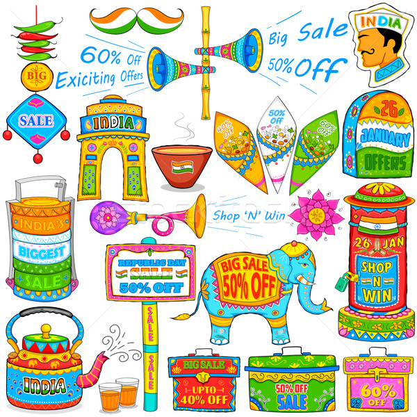 Kitsch art of India showing sale and promotion Stock photo © vectomart