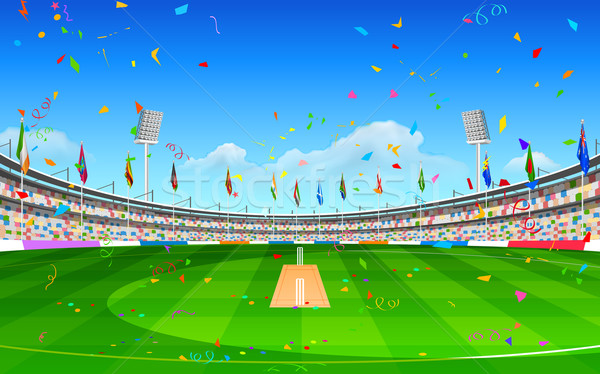 Stadion cricket tonen vlaggen landen illustratie Stockfoto © vectomart