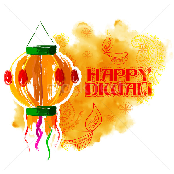 Hanging kandil on happy Diwali Holiday background for light festival of India Stock photo © vectomart