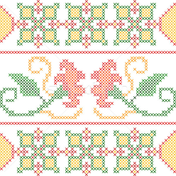 Cross Stitch Embroidery floral design for seamless pattern texture Stock photo © vectomart
