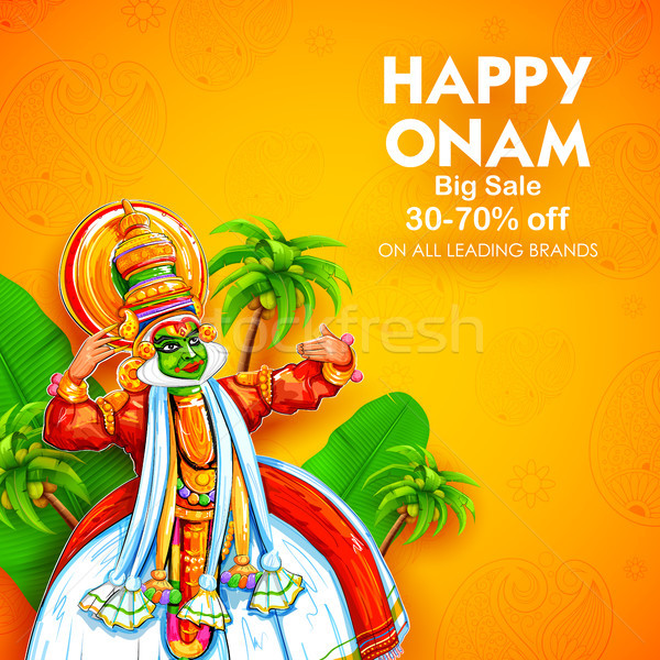 Kathakali dancer on advertisement and promotion background for Happy Onam festival of South India Ke Stock photo © vectomart