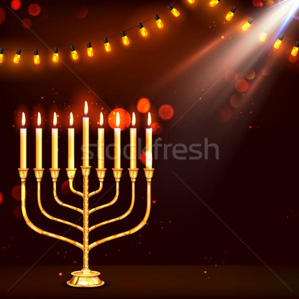 Felice vacanze illustrazione sfondo candela star Foto d'archivio © vectomart