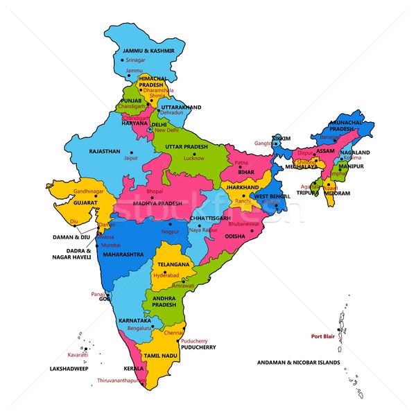 Részletes térkép India Ázsia összes vidék Stock fotó © vectomart