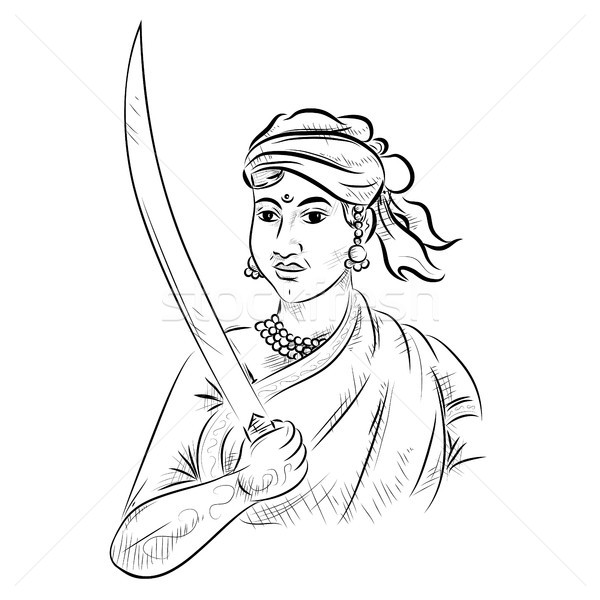 Indian background with Nation Hero and Freedom Fighter Rani Lakshmibai Pride of India Stock photo © vectomart
