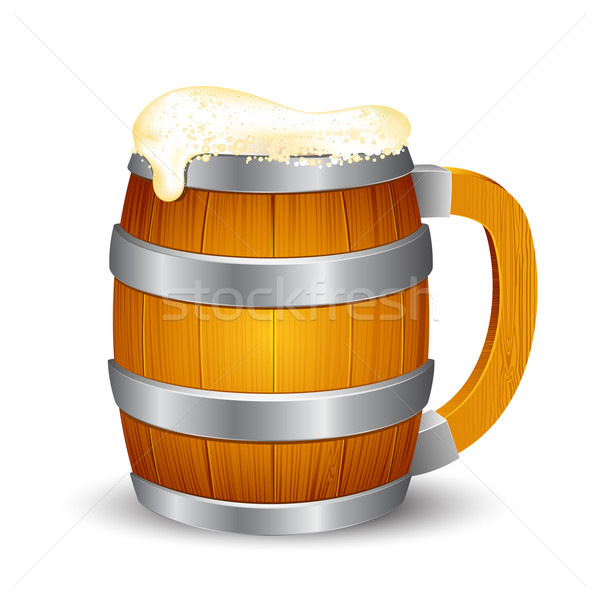 Legno birra mug illustrazione isolato party Foto d'archivio © vectomart